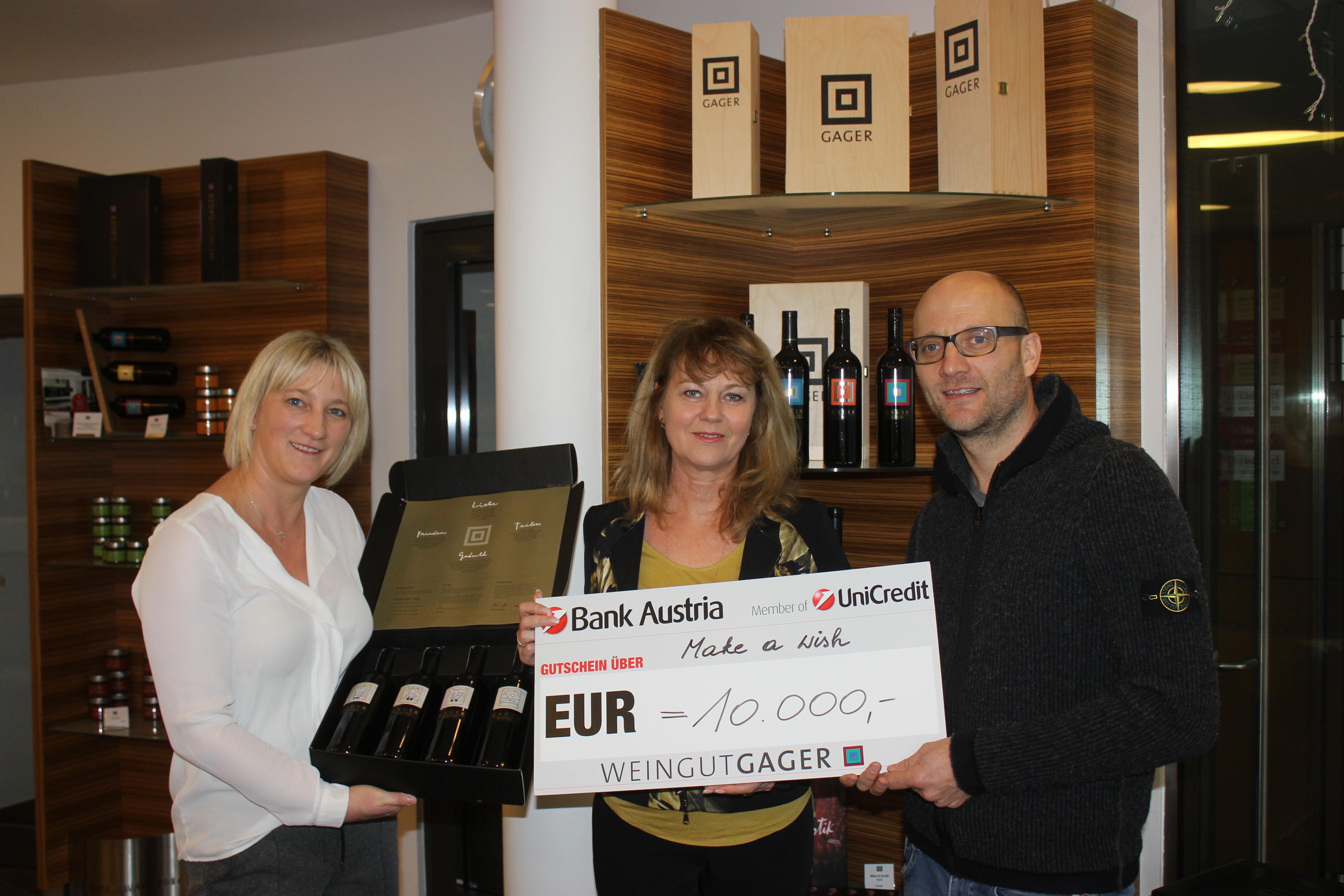 Weingut Gager spendet 10.000€ für den guten Zweck